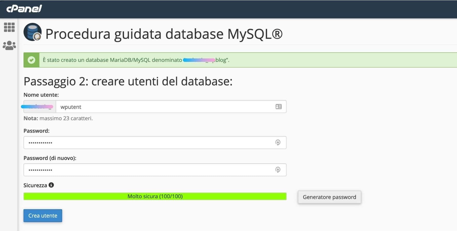 Creare database